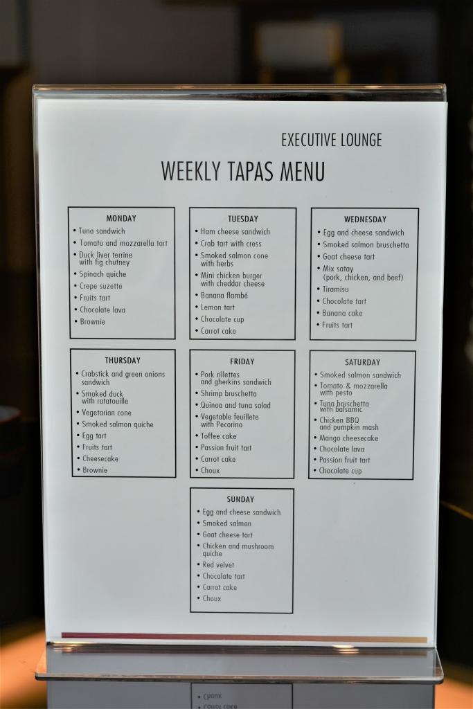 tapas menu executive lounge pullman king power bangkok