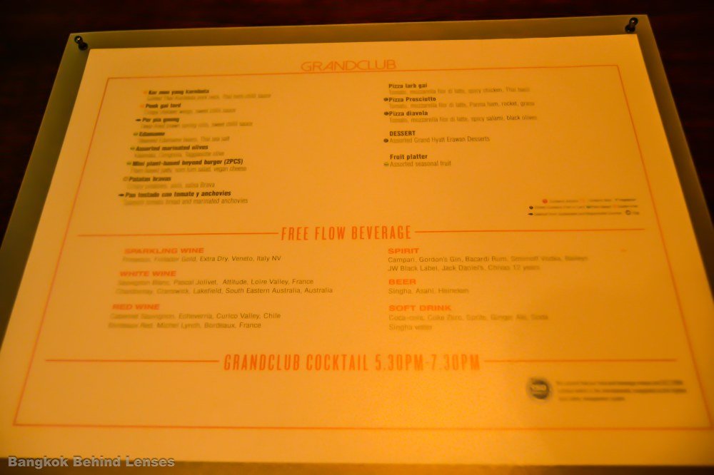 menu grand club room grand hyatt erawan bangkok